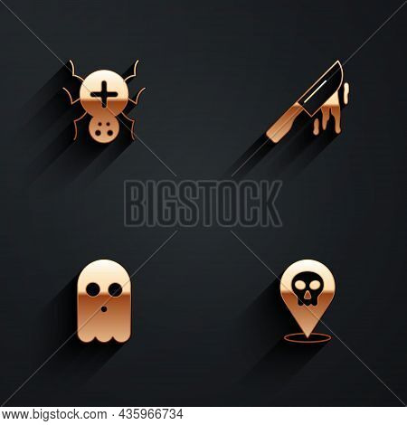 Set Spider, Bloody Knife, Ghost And Skull Icon With Long Shadow. Vector