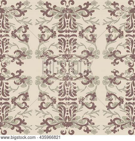 Antique Shabby Baroque Pattern. Vintage Seamless Pattern In Victorian Style. Shabby Old Background.
