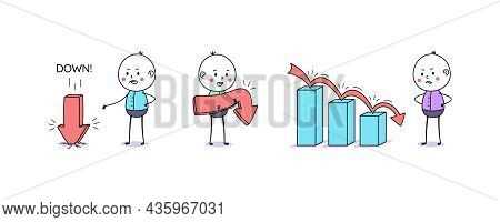 Downfall Chart And Downward Arrow Movement. Cartoon Doodle Man, Cute People. Down Arrow, Financial F