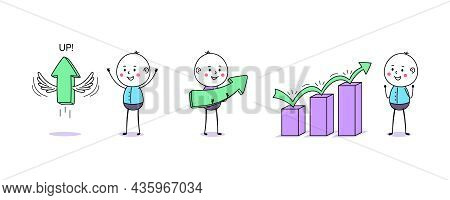 Growth Chart And Upward Arrow Movement. Cartoon Doodle Man, Cute People. Up Arrow With Wings, Financ