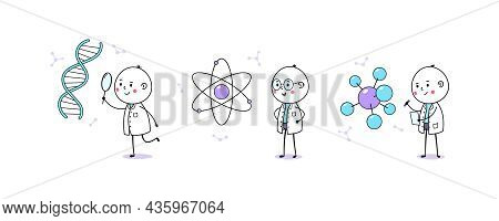 Medical And Scientific Research. Cartoon Doodle Man, Cute Doctor And Scientist. Dna And Gene Researc