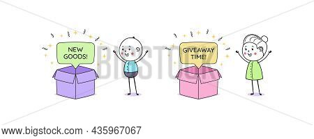 Opening Box With Bubble Message And Text New Goods And Giveaway Time. Cartoon Doodle Man And Woman.