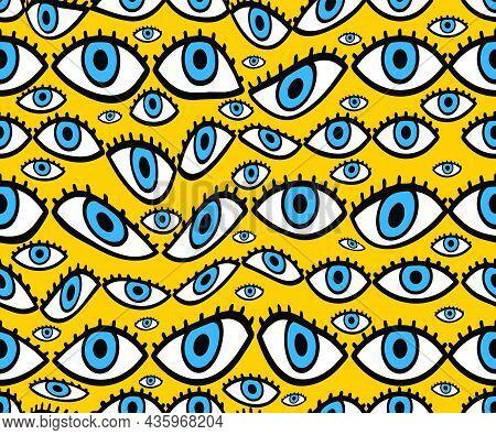 Psychedelic Deformed Eyes Seamless Pattern. Vector Hand Drawn Line Doodle Cartoon Illustration Logo.