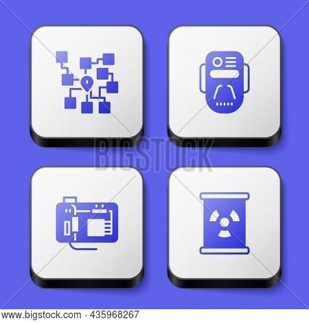 Set Neural Network, Artificial Intelligence Robot, Motherboard And Radioactive Waste Barrel Icon. Wh