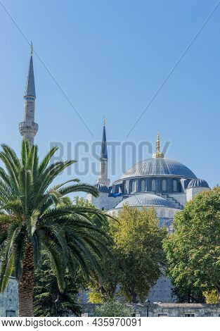 View On The Dome And Minaret Of Sultan Ahmet Mosque Also Known As Blue Mosque In Istanbul.