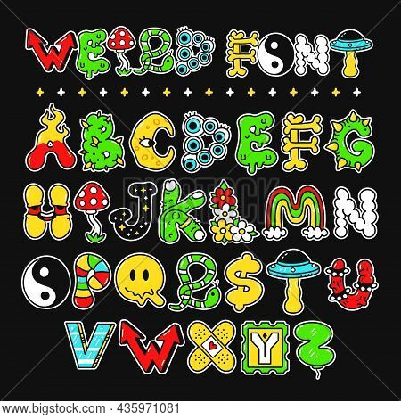 Weird Trippy Psychedelic Style Font, Letters, Abc.vector Hand Drawn Doodle Cartoon Character Illustr