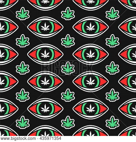 Weed Cannabis Leafs And Red Eyes Seamless Pattern. Vector Hand Drawn Cartoon Illustration Icon Desig