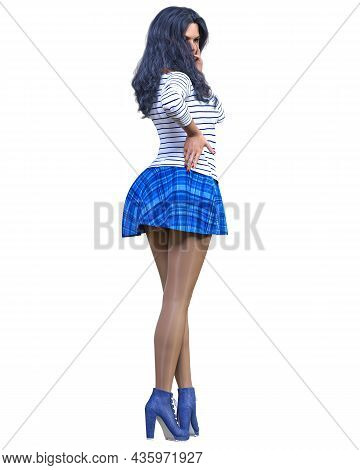 3d Beautiful Woman Short Blue Skirt, Sweater, Tights And Boots.spring-autumn Collection Clothes.brig