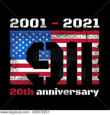 Patriot Day Design With American Flag And New York World Trade Center Twin Towers Skyline. Vector Il
