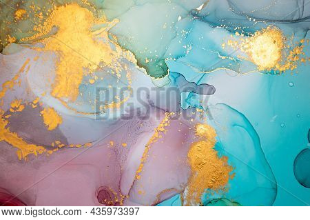 Metallic Abstract Liquid. Alcohol Ink On Paper. Multicolor Flow Mix. Ink Acrylic Print. Abstract Bac