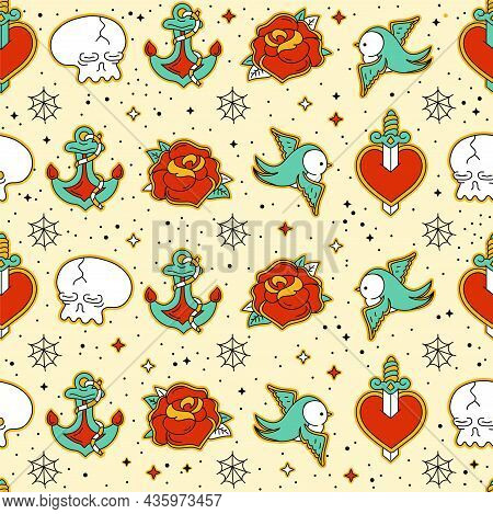 Old School Tattoo Hipster Style Seamless Pattern. Vector Hand Drawn Doodle Cartoon Character Illustr
