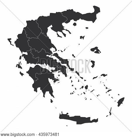 Grey Political Map Of Greece. Administrative Divisions - Decentralized Administrations. Simple Flat