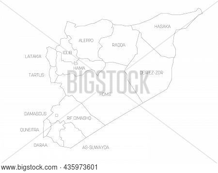 Political Map Of Syria. Administrative Divisions - Governorates. Simple Flat Vector Map With Labels.