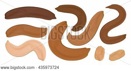 Paint Make Up Foundation Smudges. Liquid Concealer Gel. Color Female Strokes. Face Shade Background.