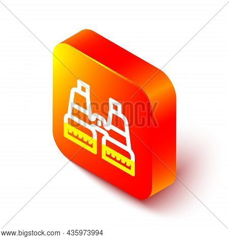 Isometric Line Binoculars Icon Isolated On White Background. Find Software Sign. Spy Equipment Symbo
