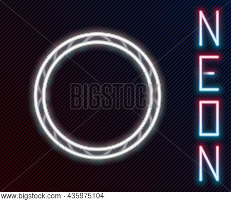 Glowing Neon Line Bicycle Wheel Icon Isolated On Black Background. Bike Race. Wheel Tire Air. Sport