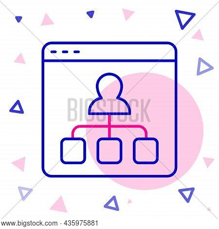 Line Online Education And Graduation Icon Isolated On White Background. Online Teacher On Monitor. W