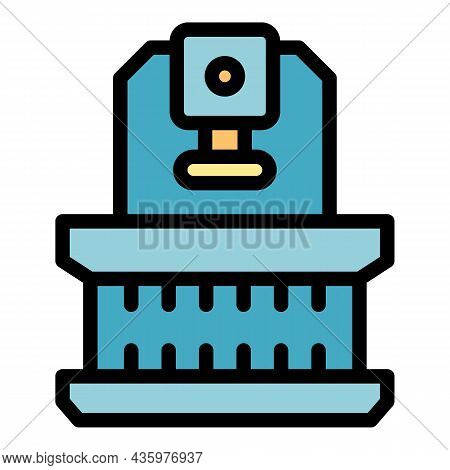Lathe Press Icon. Outline Lathe Press Vector Icon Color Flat Isolated