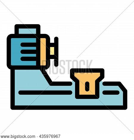 Industry Lathe Icon. Outline Industry Lathe Vector Icon Color Flat Isolated