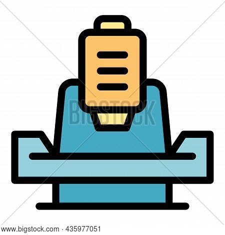 Boring Lathe Icon. Outline Boring Lathe Vector Icon Color Flat Isolated