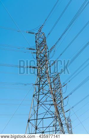 Powerful Substation On Sky Background With Nobody. Electrical Power Lines.