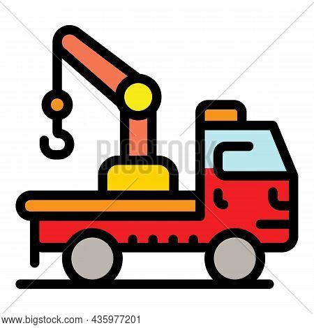 Tow Truck Icon. Outline Tow Truck Vector Icon Color Flat Isolated