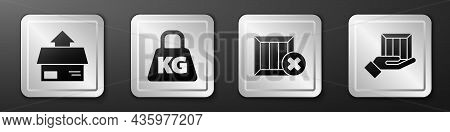 Set Carton Cardboard Box, Weight, Wooden Box And Delete And Delivery Hand With Boxes Icon. Silver Sq