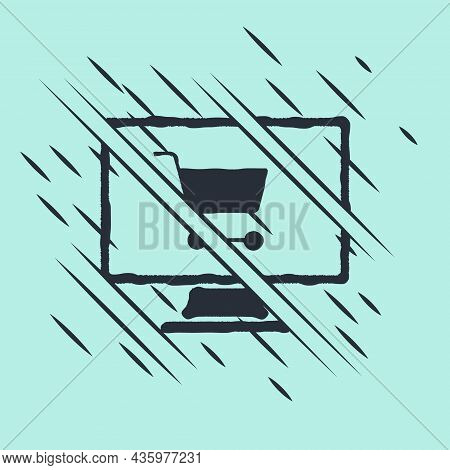 Black Shopping Cart On Screen Computer Icon Isolated On Green Background. Concept E-commerce, E-busi