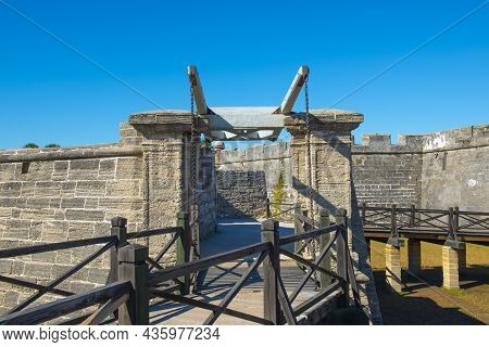 Main Entrance Of Castillo De San Marcos In St. Augustine, Florida Fl, Usa. This Fort Is The Oldest A