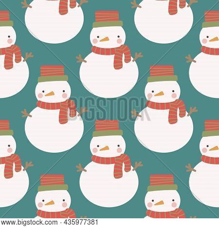 Christmas And New Year Symbols Snowman. Vector Seamless Pattern. Digital Paper. Desig Element.