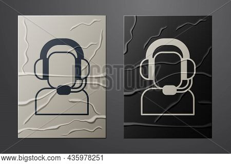 White Man With A Headset Icon Isolated On Crumpled Paper Background. Support Operator In Touch. Conc