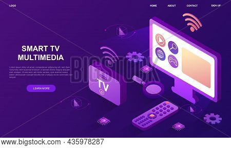 Smart Tv Multimedia. Modern Technologies, New Devices. Television Set With Remote Control And Mediap