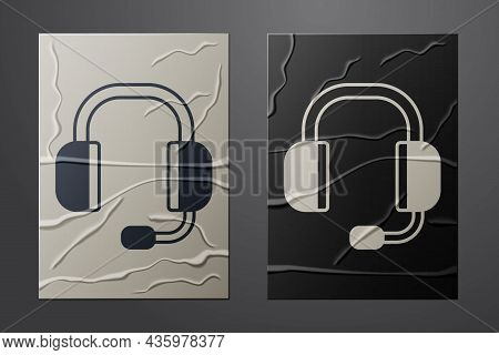 White Headphones Icon Isolated On Crumpled Paper Background. Support Customer Service, Hotline, Call