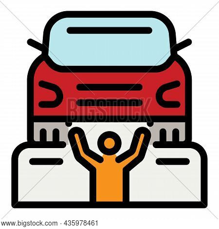 Man Under Car Repair Icon. Outline Man Under Car Repair Vector Icon Color Flat Isolated