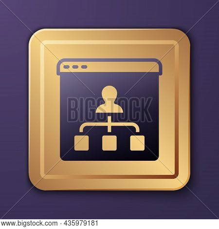 Purple Online Education And Graduation Icon Isolated On Purple Background. Online Teacher On Monitor