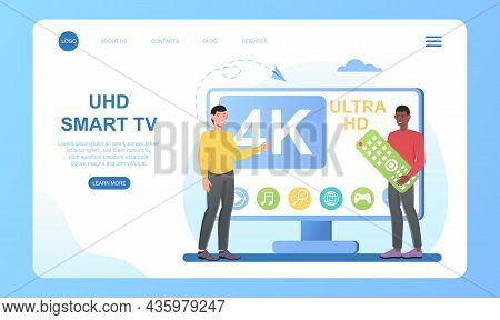 Uhd Smart Tv. Very Large Screen, Many Functions, Modern Television. Ultra High Definition, 4k 8k Dis