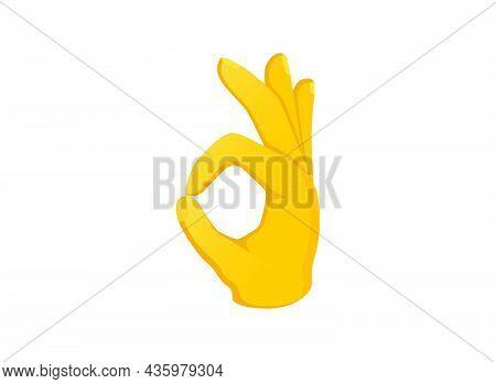 Ok Hand Icon. Hand Gesture Emoji Vector Illustration.