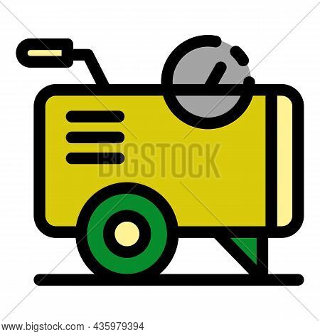 Air Compressor Cart Icon. Outline Air Compressor Cart Vector Icon Color Flat Isolated
