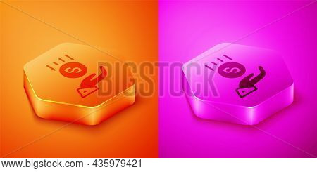 Isometric Coins On Hand - Minimal Wage Icon Isolated On Orange And Pink Background. Hexagon Button.