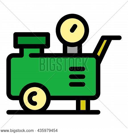 Air Compressor Tank Icon. Outline Air Compressor Tank Vector Icon Color Flat Isolated