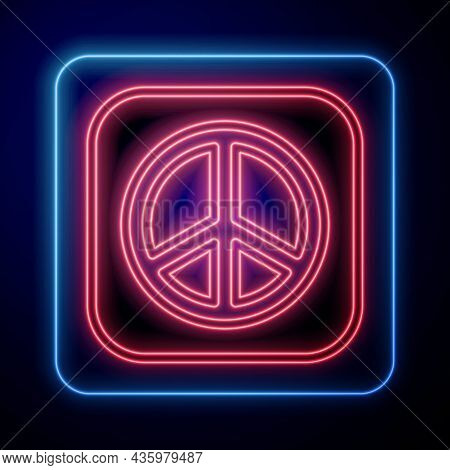 Glowing Neon Peace Icon Isolated On Black Background. Hippie Symbol Of Peace. Vector