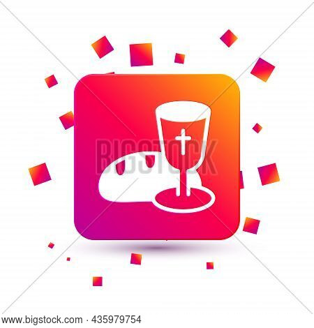 White Goblet And Bread Icon Isolated On White Background. Bread And Wine Cup. Holy Communion Sign. S