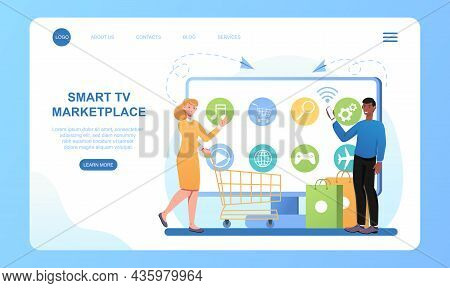 Smart Tv Marketplace. Purchase Of Goods Via Internet, Delivery To Selected Address. Girl Chooses Dev