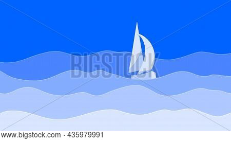 Paper Cut Seascape, Sailboat With White Sails On Blue Sea Waves.