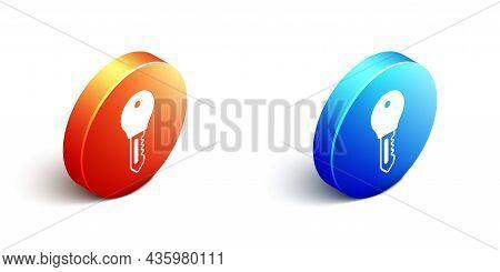 Isometric Hotel Door Lock Key Icon Isolated On White Background. Orange And Blue Circle Button. Vect