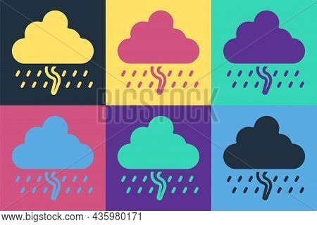 Pop Art Cloud With Rain And Lightning Icon Isolated On Color Background. Rain Cloud Precipitation Wi