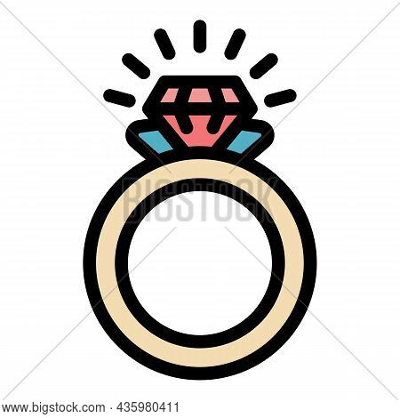 Crystal Ring Icon. Outline Crystal Ring Vector Icon Color Flat Isolated