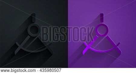 Paper Cut Drawing Compass Icon Isolated On Black On Purple Background. Compasses Sign. Drawing And E