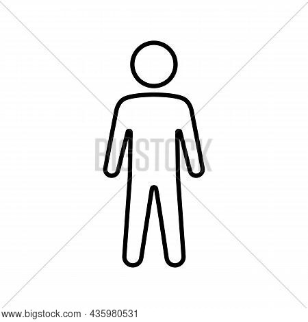 Simple Minimalistic Man Or Person Silhouette Black Line Icon. Trendy Flat Isolated Symbol, Sign Used