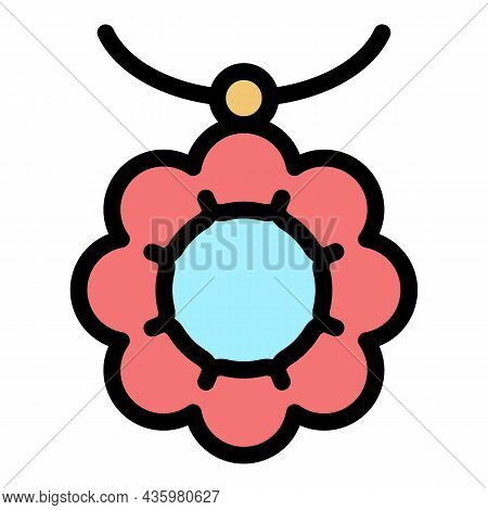 Necklace Accessory Icon. Outline Necklace Accessory Vector Icon Color Flat Isolated
